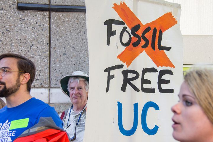 <span>Fossil Free UC taking action at the University of California Regents Meeting in Sacramento. The university system annou