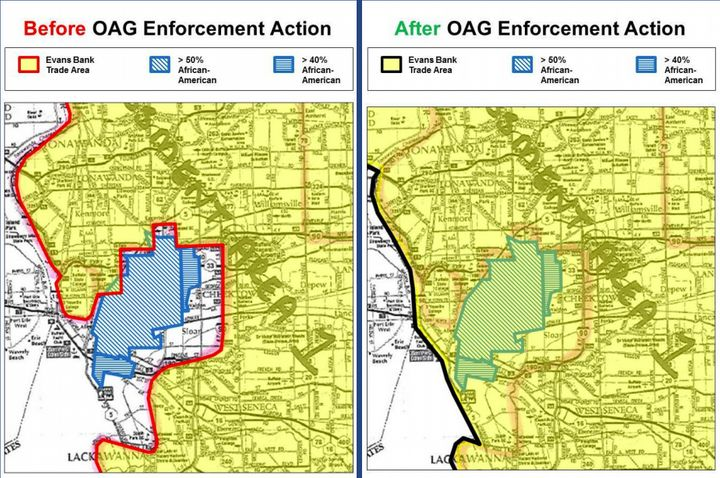 These maps provided by the New York Attorney General's Office shows Evans Bank's service area before and after th