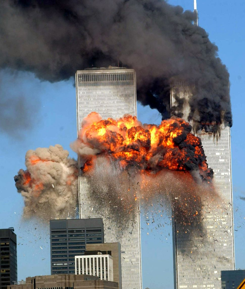 "<span style=""color: #222222;"">A fiery blast rocks the south tower of the World Trade Center as the hijacked United Airlines F"