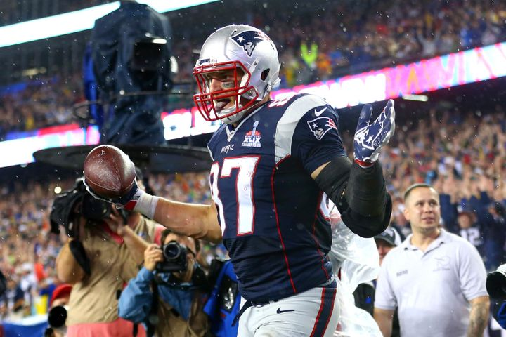 Patriots tight end Rob Gronkowski scored three touchdowns on Thursday night, helping New England to defeat the Steelers in th