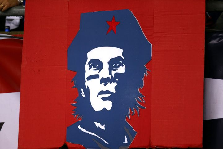 A sign showing Tom Brady as Che Guevara at Gillette Stadium on Thursday night.
