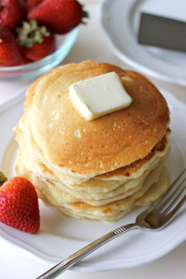 """<strong>Get the <a href=""""http://damndelicious.net/2012/07/23/buttermilk-pancakes-with-strawberry-sauce/"""" target=""""_blank"""">Clas"""