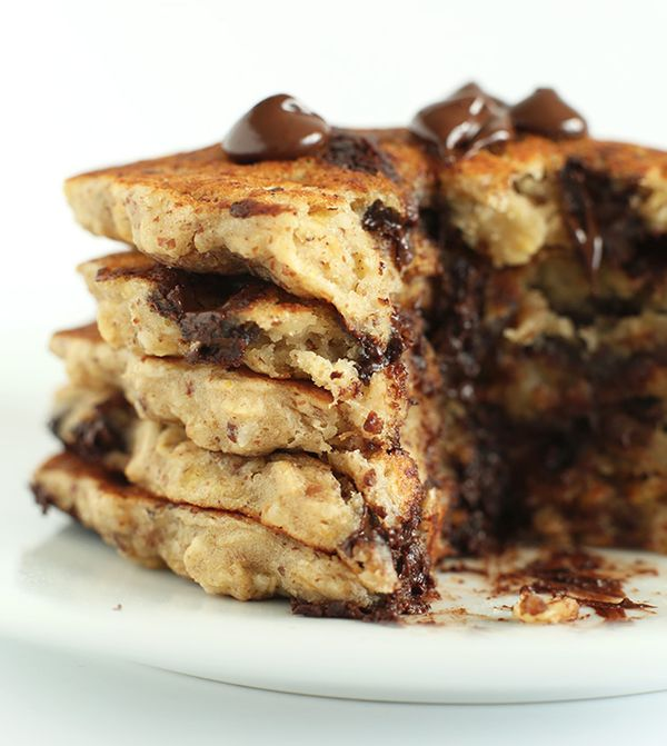 """<strong>Get the <a href=""""http://minimalistbaker.com/chocolate-chip-oatmeal-cookie-pancakes-2-0/"""" target=""""_blank"""">Chocolate Ch"""
