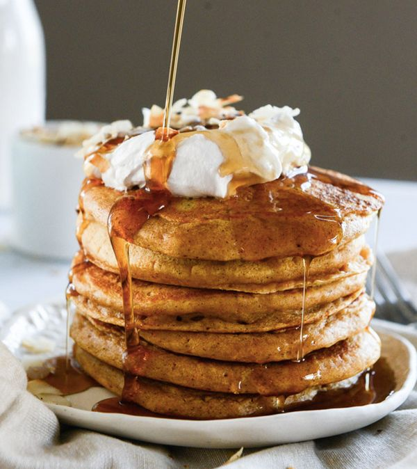 """<strong>Get the <a href=""""http://www.howsweeteats.com/2014/11/buttermilk-sweet-potato-pancakes-with-coconut-whipped-cream/"""" ta"""
