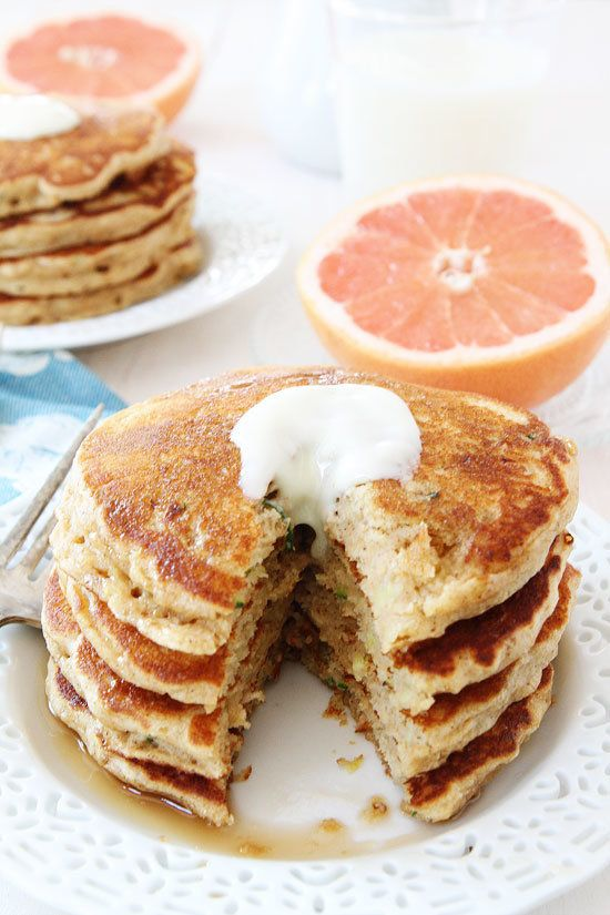 """<strong>Get the <a href=""""http://www.twopeasandtheirpod.com/whole-wheat-zucchini-pancakes/"""" target=""""_blank"""">Whole Wheat Zucchi"""