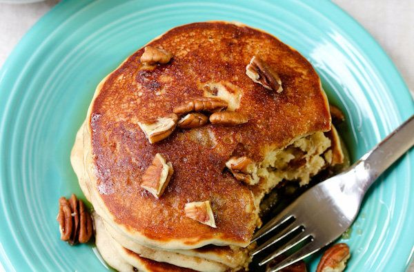 """<strong>Get the <a href=""""http://www.aspicyperspective.com/2012/02/toffee-nut-pancakes.html"""" target=""""_blank"""">Toffee Nut Pancak"""
