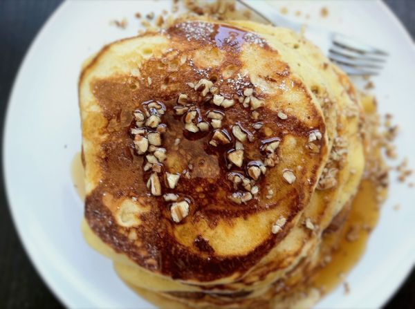 """<strong>Get the <a href=""""http://food52.com/recipes/16691-bourbon-maple-syrup-on-egg-nog-pancakes"""" target=""""_blank"""">Bourbon-Map"""