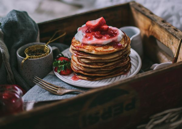 """<strong>Get the<a href=""""http://www.adventures-in-cooking.com/2015/05/goat-cheese-vanilla-bean-pancakes.html"""">Goat Chees"""