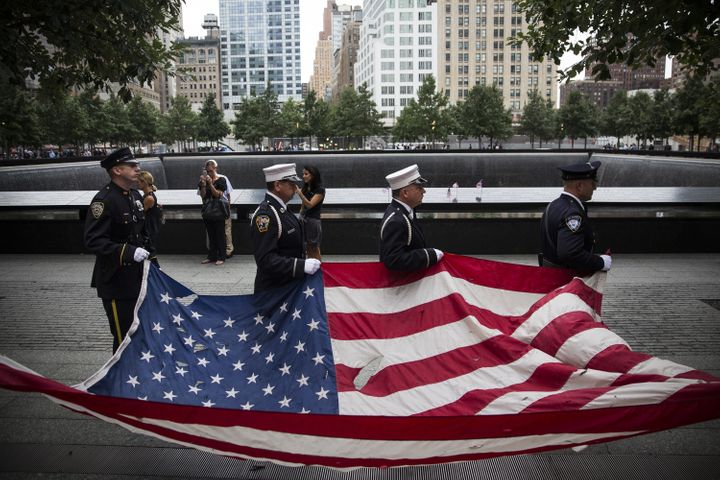 NEW YORK, NY - SEPTEMBER 11: Members of the New York Police Department, Fire Department of New York and Port Authority Police