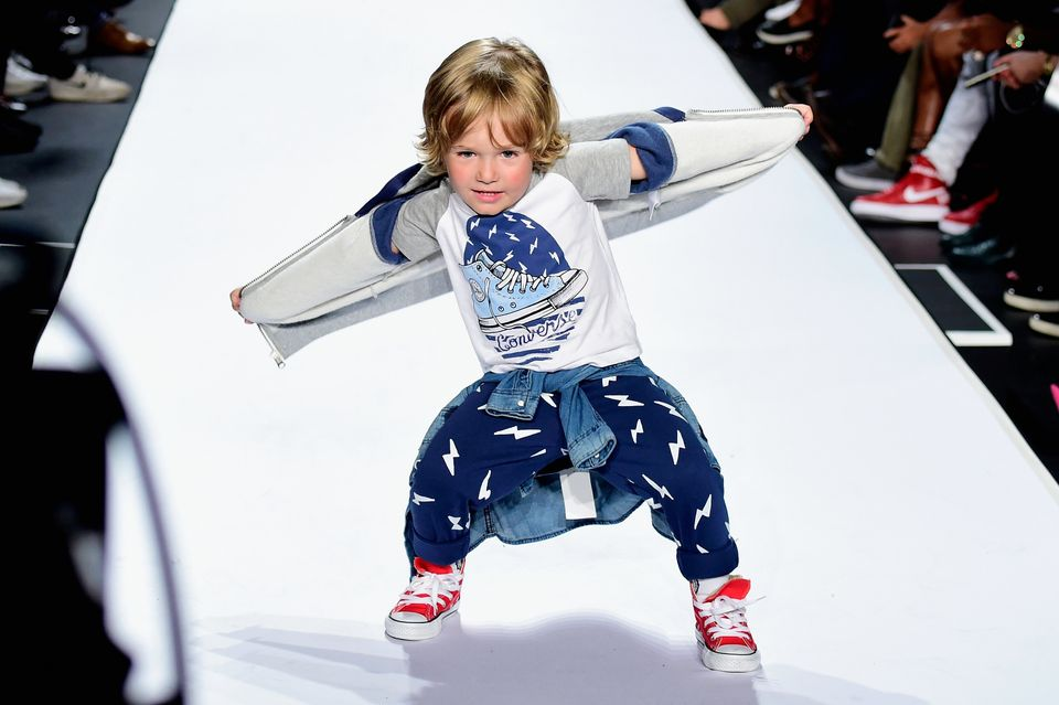 NEW YORK, NY - SEPTEMBER 10:  A model walks the runway at the Kids Rock! fashion show during Spring 2016 New York Fashion Wee