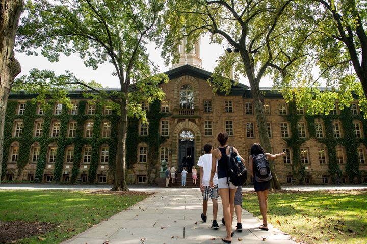 Students walk on the campus of Princeton University in New Jersey.