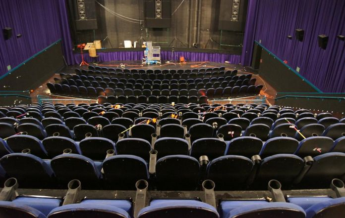 A view of the movie theater where James Holmes killed 12 people.