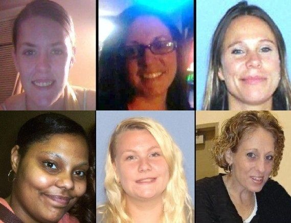 """Investigators believe Ernest """"Dollar Bill"""" Moore could have information in the cases of six women who have disappeared or turned up dead in Chillicothe, Ohio,in the past 16 months. The women are: (top row, left to right) Tiffany Sayre,Charlotte Trego and Wanda Lemons and (bottom row, left to right) Tameka Lynch, Shasta Himelrick and Timberly Claytor."""