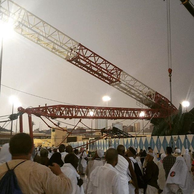 This photo shows a crane collapsed at a mosque in Mecca on Sept. 11, 2015.