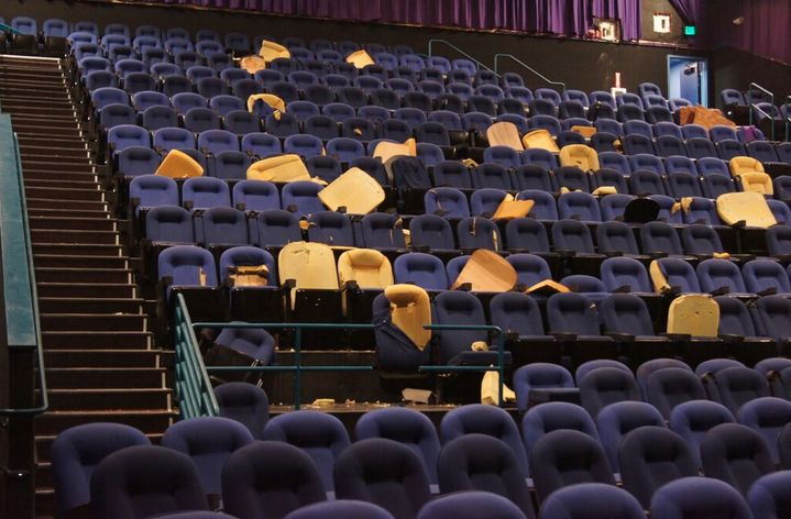 The empty movie theater.