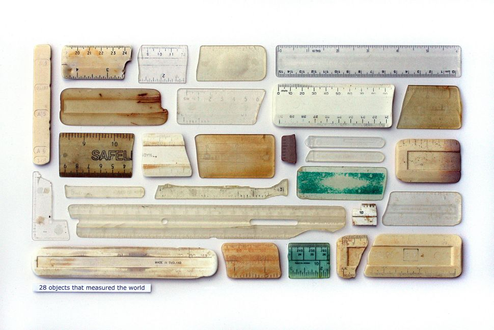 """28 Objects That Measured The World,"" Plastic objects, entomology pins, and text on card"
