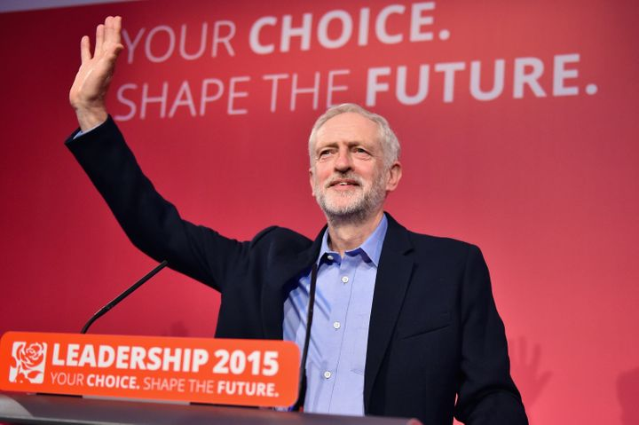 Jeremy Corbyn is announced the new leader of the Labour Party at the Queen Elizabeth II conference centre on September 12, 20
