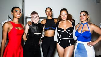 NEW YORK, NY - SEPTEMBER 11:  Designer Becca McCharen and models wearing her catwalk collection backstage after the show at Milk Studios on September 11, 2015 in New York City.  (Photo by Daniel C Sims/Getty Images for Chromat)