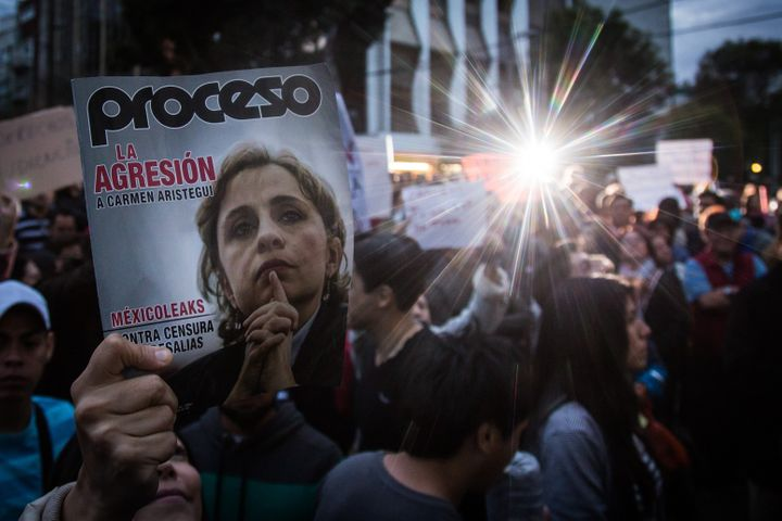 The dismissal of Carmen Aristegui by MVS News sparked protests in Mexico City in March.