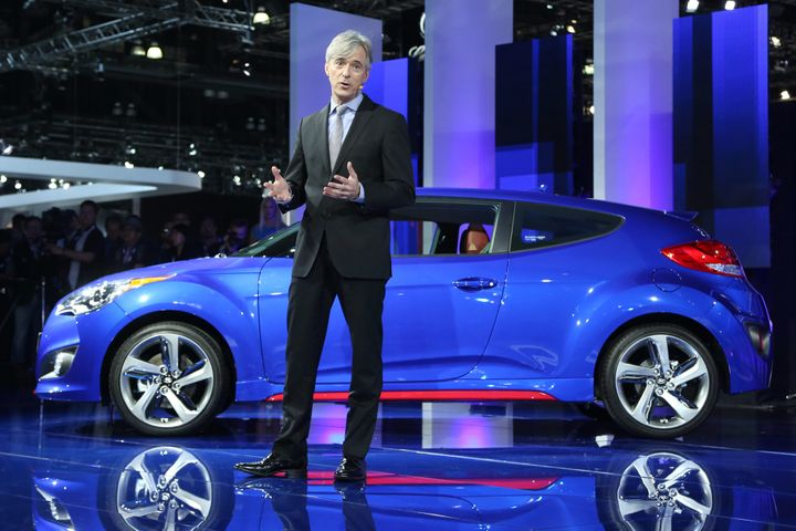 John Krafcik speaks at the LA Auto Show in Los Angeles, California, on Nov. 20, 2013.