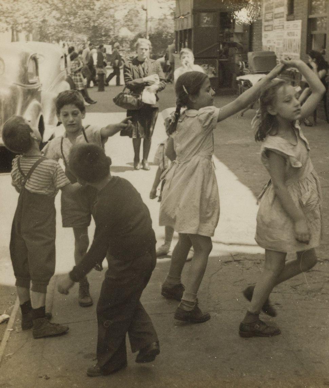 """Helen Levitt, """"Girls Dancing Above 96th Street Near 1st Avenue A,"""" suite of 5 photographs circa 1940 (Est. $5/7,000)"""