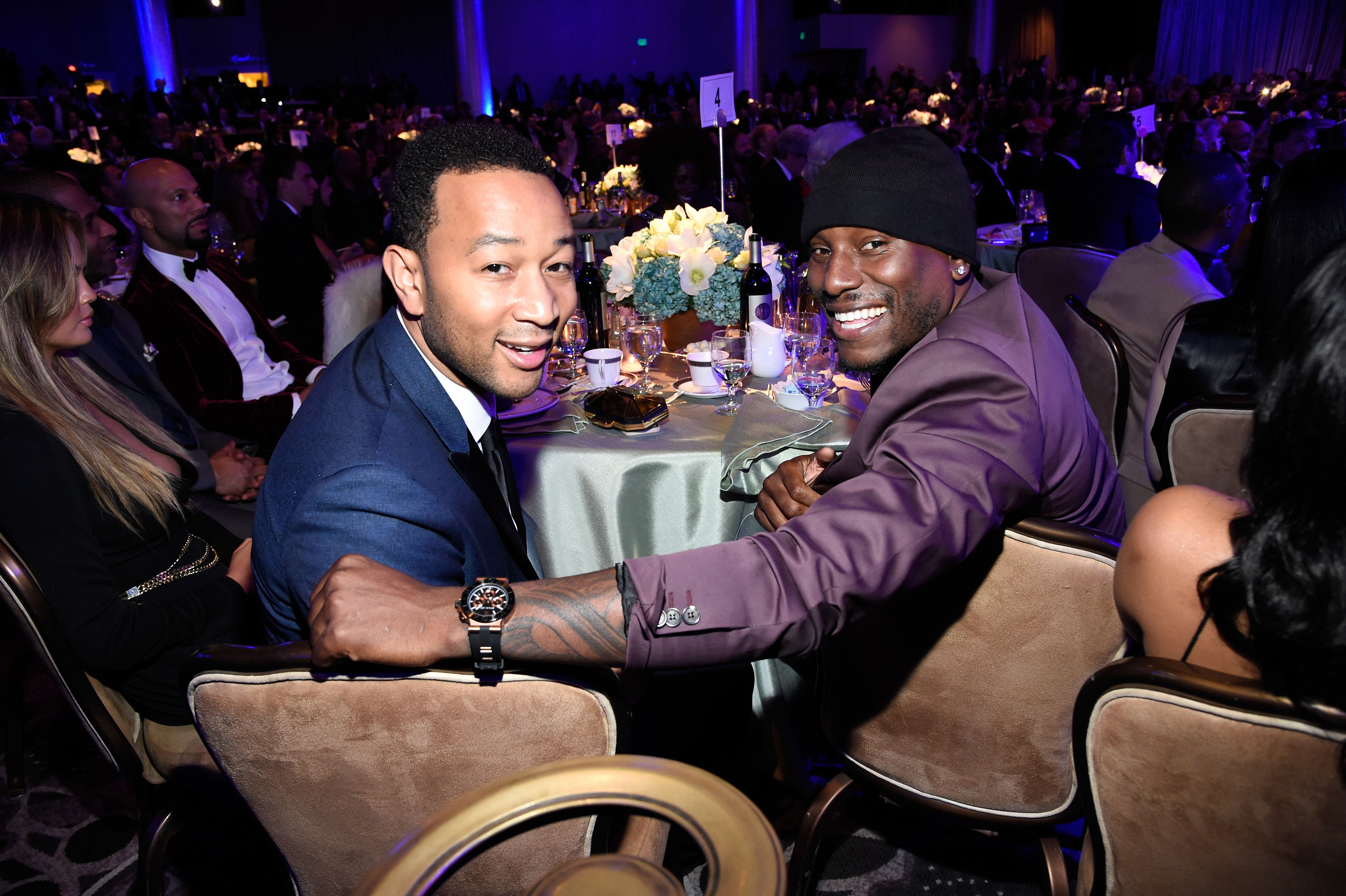 LOS ANGELES, CA - FEBRUARY 07:  John Legend and Tyrese Gibson attend the Pre-GRAMMY Gala And Salute To Industry Icons Honoring Martin Bandier at The Beverly Hilton on February 7, 2015 in Los Angeles, California.  (Photo by Kevin Mazur/WireImage)