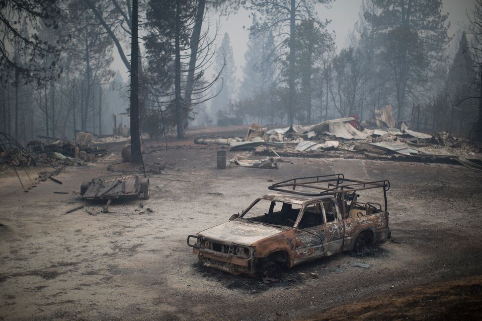 A burned truck and structures near San Andreas, California, Sept. 13, 2015.