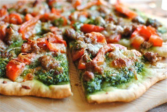 """Get the <a href=""""http://bevcooks.com/2011/10/sausageredbellpepperandspinachpizza/"""" target=""""_blank"""">Sausage, Bell Pepper And S"""