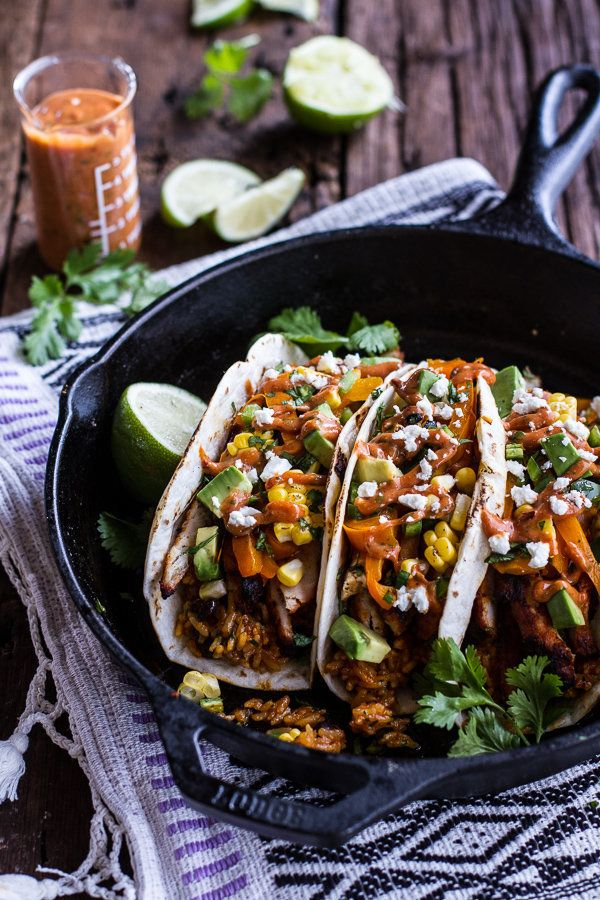 """<strong>Get the <a href=""""http://www.halfbakedharvest.com/easy-chicken-fajitas-cheesy-enchilada-rice-spicy-tex-mex-special-sau"""