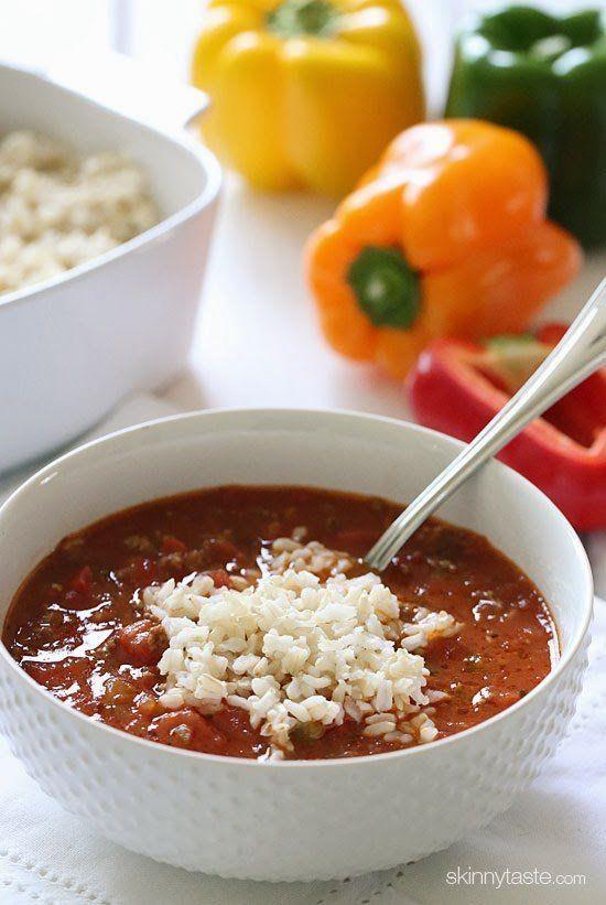 """<strong>Get the <a href=""""http://www.skinnytaste.com/2011/12/stuffed-pepper-soup.html"""" target=""""_blank"""">Stuffed Pepper Soup rec"""