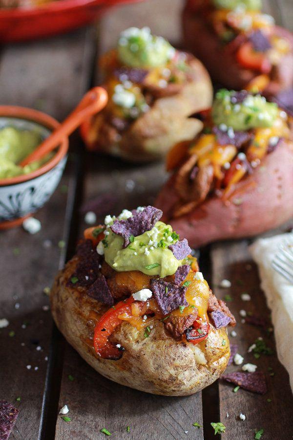 "<strong>Get the <a href=""http://www.halfbakedharvest.com/steak-fajita-stuffed-baked-potatoes-avocado-chipotle-crema/"" target="