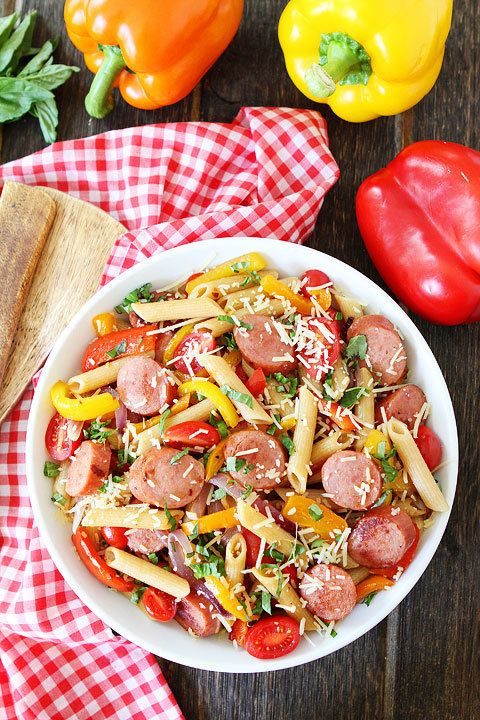 """<strong>Get the <a href=""""http://www.twopeasandtheirpod.com/spicy-sausage-and-pepper-pasta/"""" target=""""_blank"""">Spicy Sausage And"""