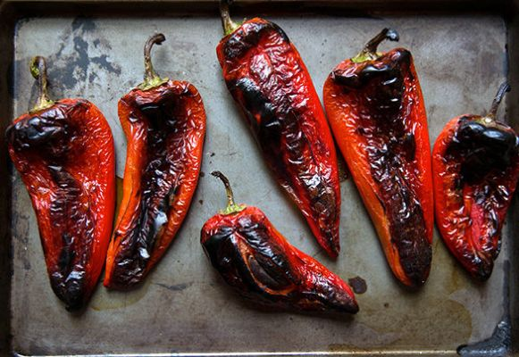 """<strong>Get the <a href=""""http://food52.com/recipes/24161-roasted-red-peppers"""" target=""""_blank"""">Roasted Red Peppers recipe</a>"""
