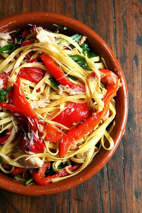 """<strong>Get the <a href=""""http://www.alexandracooks.com/2012/08/10/linguini-with-roasted-red-peppers-crabmeat-basil/"""" target="""""""