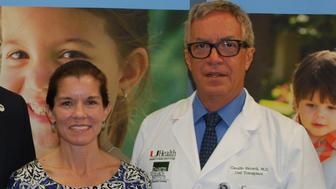 Pictured from left to right:DRI Foundation President and CEO Joshua Rednik, transplant patient Wendy Peacock, and Drs. Camillo Ricordi and Rodolfo Alejandro.
