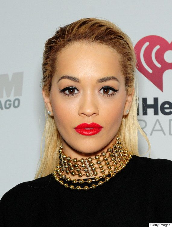 Ora can do no wrong with beauty when wearing fire-engine red lipstick with her bleach blonde hair.