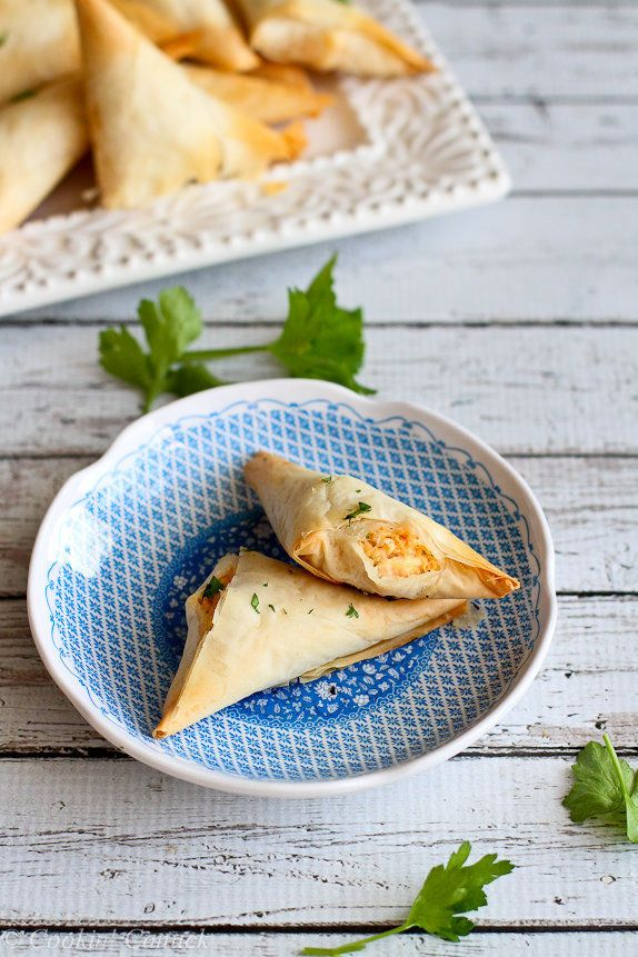 "<strong>Get the <a href=""http://www.cookincanuck.com/2015/01/lightened-up-buffalo-chicken-phyllo-turnovers-recipe/"">Lightened"