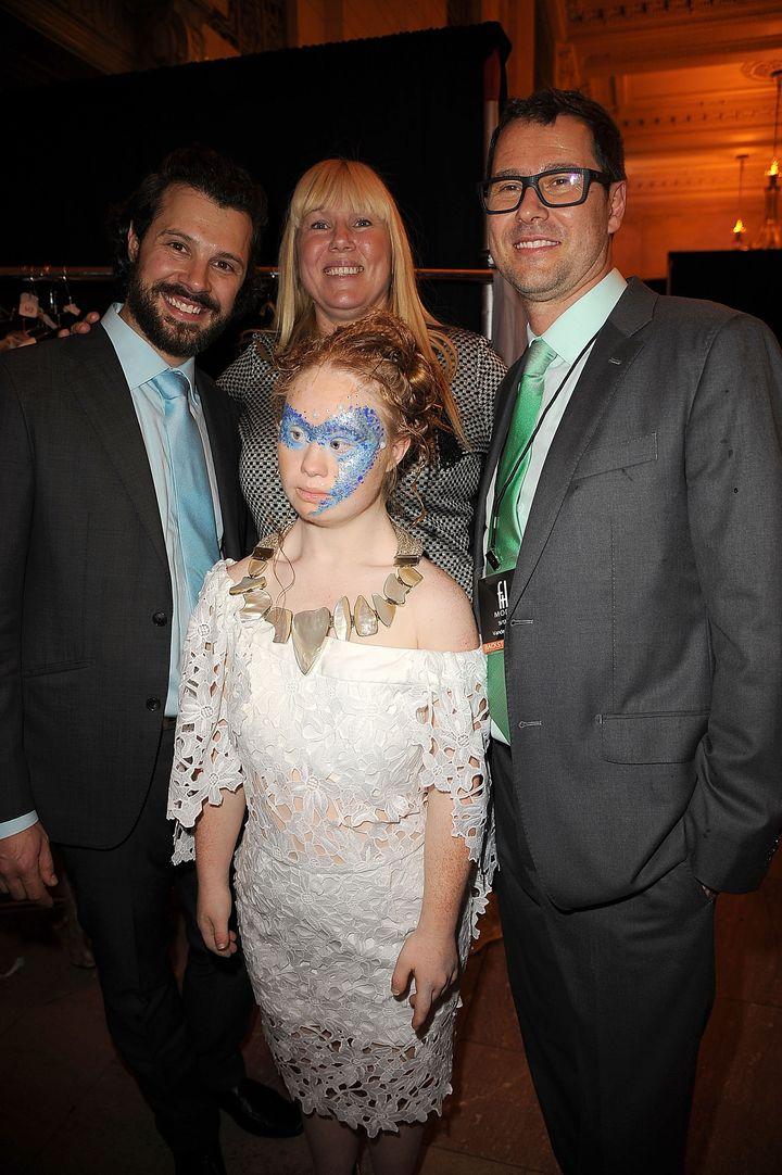 Hendrik Vermeulen, Rosanne Stuart, Madeline Stuart (front center) and Jean-Daniel Meyer-Vermeulen backstage during Spring 201