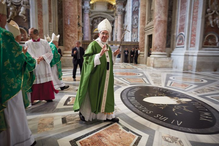 The Holy Father in his liturgical vestments celebrates Mass o  Vatican grounds.