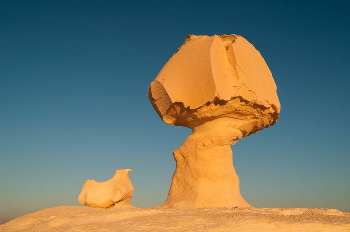 Rock formations near the Farafra oasis in Egypt's Western Desert.