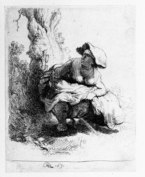 """Rembrandt, """"Woman urinating under a tree,"""" 1631"""