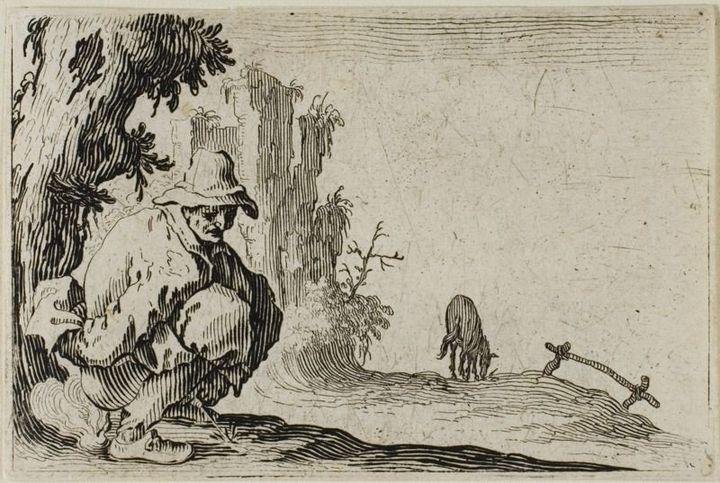 "Jacques Callot, ""The Peasant Squatting"""
