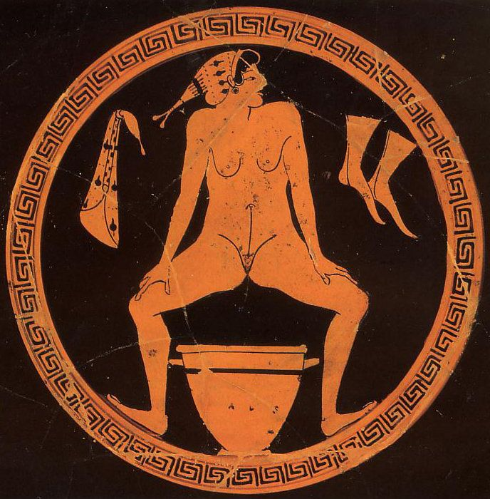 Hetaera urinating into a skyphos. Tondo of a red-figure kylix in the kind of the Foundry Painter, ca. 480 BC.