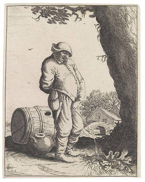 """Adriaen van Ostade, """"Der pissende Bauer,"""" 1660s"""