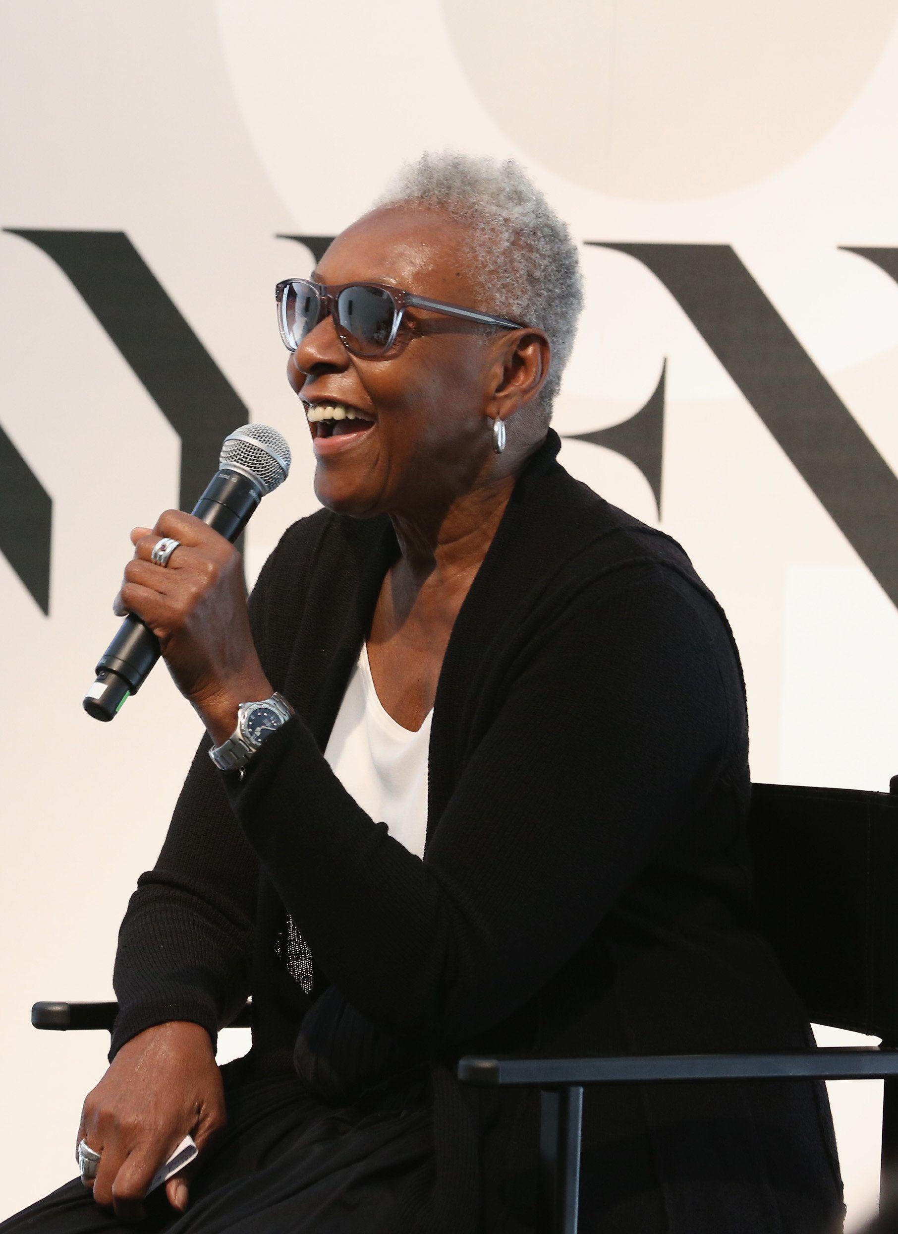 NEW YORK, NY - SEPTEMBER 14:  Bethann Hardison speaks on stage during Spring 2016 New York Fashion Week: The Shows - Day 5 at NYFW: The Shows HQ on September 14, 2015 in New York City.  (Photo by Robin Marchant/Getty Images)