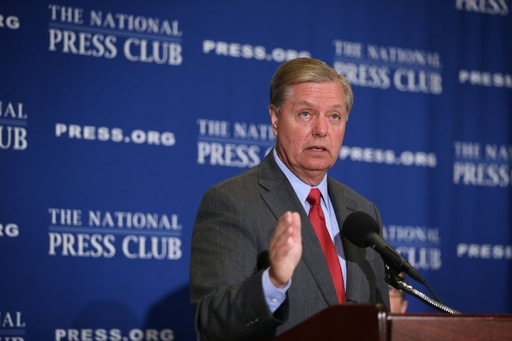 Senator Lindsey Graham (R-S.C.) threatens to cut IAEA funding over access to confidential side agreements during a speech at