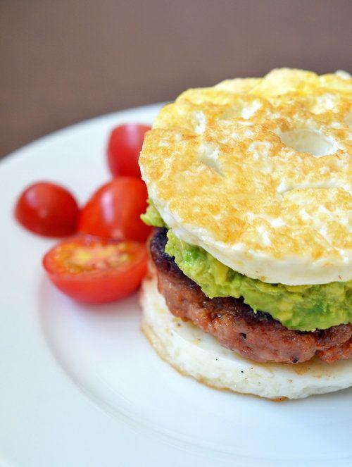 """<strong>Get the<a href=""""http://nomnompaleo.com/post/53107778638/paleo-sausage-egg-mcmuffin"""">Paleo Sausage Egg """"McMuffin"""