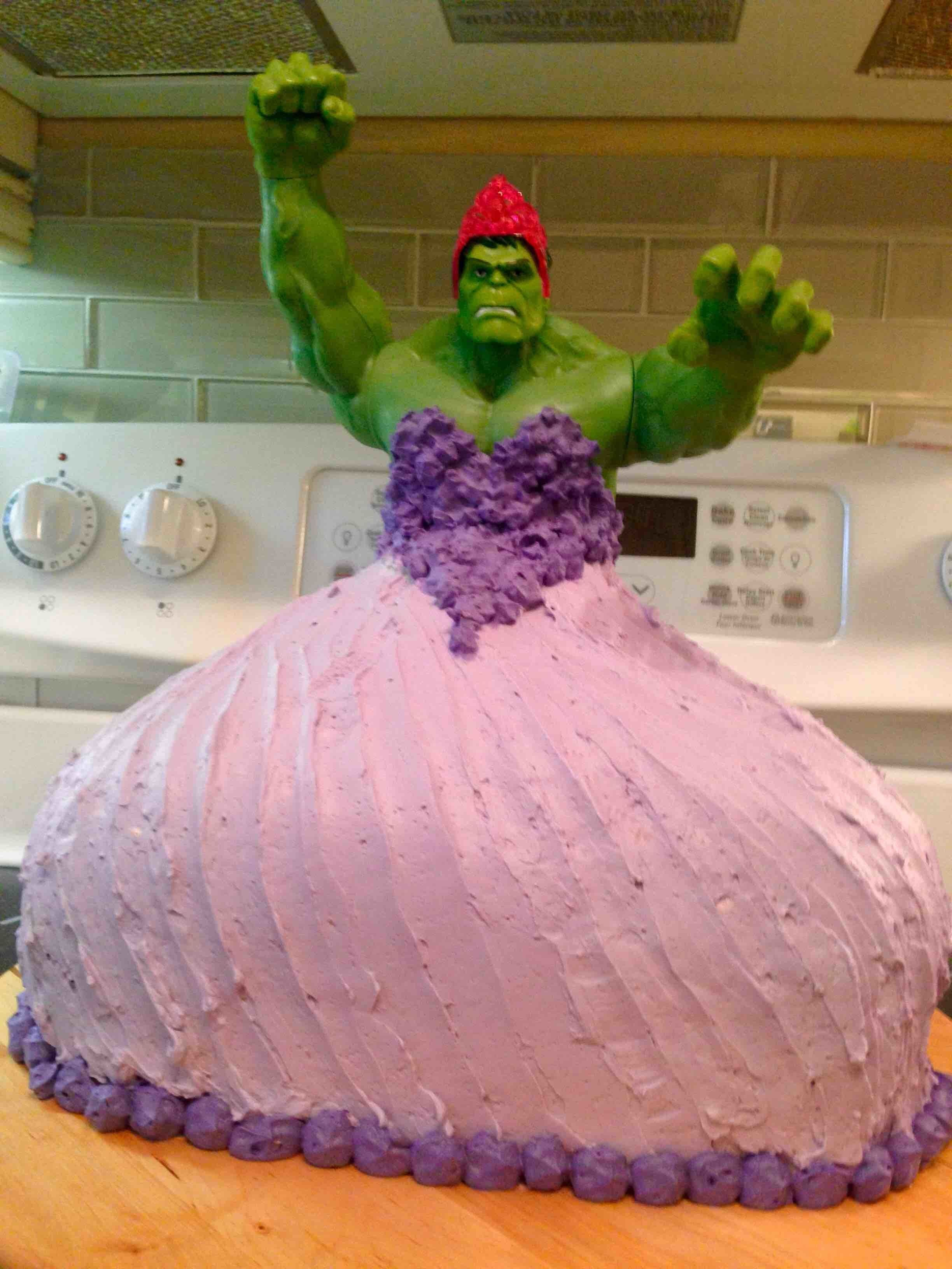 """""""My 4-year old twin girls wanted a Hulk Princess cake for their birthday. So I made one!"""" -- <a href=""""http://www.huffingtonpo"""