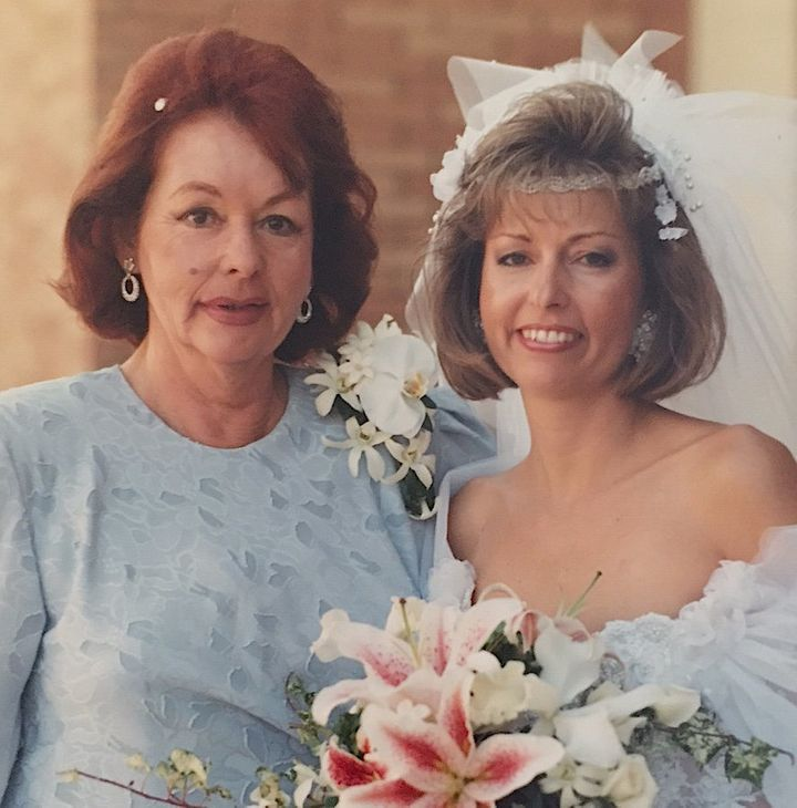 Me and my mom at my wedding, in all our 80s splendor!