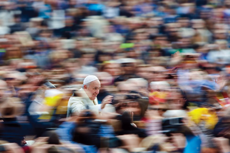 "A swirl of pilgrims surround Pope Francis in St. Peter's Square. From <i><a href=""http://www.amazon.com/Pope-Franc"